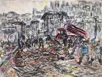 Quadro di  Guido Borgianni - 1966. Dopo l'Alluvione pastel papel